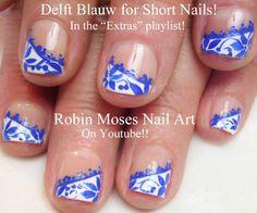 Nail Art for Short Nails - Delft Blauw