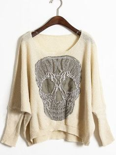 Apricot Batwing Long Sleeve Skull Print Sweater