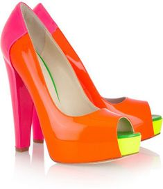 Brian Atwood   Alima Neon Patent-leather Pumps    Price: $795 at net-a-porter.com  Neon is all the rage for this Spring season ahead. The brighter the better, so go on, wear your sunglasses …