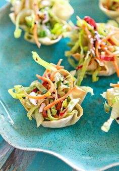 These Asian Salad Wonton Cup Appetizers will be gone in seconds at your next dinner party.