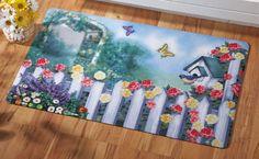 Springtime Garden Scene Floor Mat