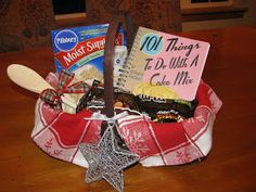 gift idea- find a cookbook and mark simple recipe in it, put cookbook and ingredients for the recipe together in a basket. christmas gift ideas, gift basket ideas, christma gift, christmas gift baskets, cake mixes, secret santa gifts, homemade gifts, christmas ideas, inexpensive christmas gifts