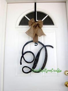 Single Letter Monogram Wooden Door Decor by CarolinaMoonCrafts