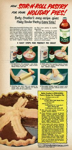 Stir-N-Roll Pumpkin Pie recipe (1950). #vintage #food #recipes #1950s #Thanksgiving
