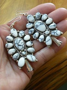 """Dramatic Howlite Sterling Silver Squash Blossom Earrings 2-3/8"""" Long!  Signed."""