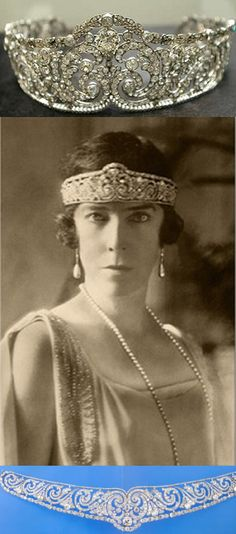"""In 1912, Queen Elisabeth of the Belgians, wife of King Albert I, acquired this diamond and platinum foliage tiara.  It can be dismounted from the frame and worn as a necklace.   See """"Aigrettes and Bandeau Tiaras"""" for a tiara solo pin."""