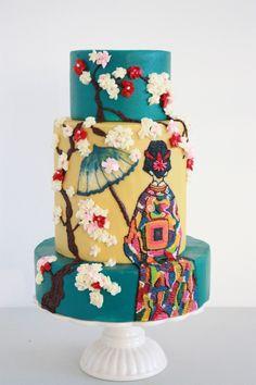 geisha cake, queen of hearts, garden cakes, japanes garden, japanese gardens, heart coutur, coutur cake, amaz cake, japanes cake