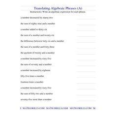 Algebra Worksheet -- Translating Algebraic Phrases (A)