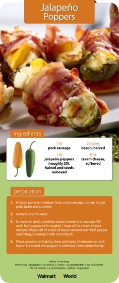 This recipe for jalapeño poppers makes crowd-pleasing appetizers that are as easy to make as they are to pop into your mouth. —Submitted by Jennifer F. of Store 1232 in Belton, Texas #tailgating