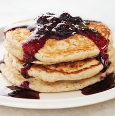 We put a secret ingredient in these Blueberry Cream Pancakes - it makes them taste a little like cheesecake.