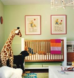paint color, domino, nurseries, green, book pages, benjamin moore, kid room, giraffes, babies rooms
