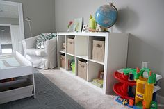 May do this in the living room for toy storage. She has lots of pictures on her website about how to store toys.