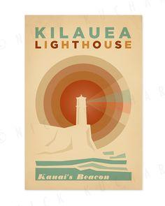 Kilauea Lighthouse - 12 x 18 Retro Hawaii Print. Everything is Jake