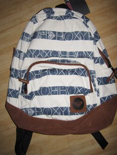 NEW* ROXY BACKPACK BOOK SCHOOL STUDENT BAG Cotton Blue Off White | eBay