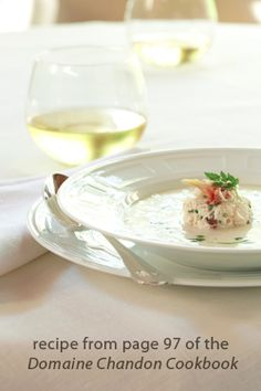 crab and corn bisque with chervil oil