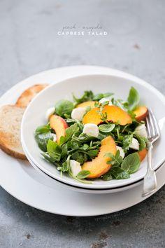 Peach & Arugula Caprese Salad from www.loveandoliveoil.com