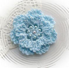 HAND CROCHET CORSAGE BROOCH APLIQUE PASTEL BLUE ACRYLIC FLOWER in Crafts, Crochet, Other Crochet | eBay
