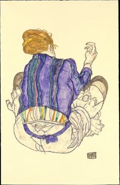 Egon Schiele  : Seated Woman, Back View