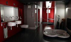 red/black/white bathroom