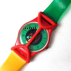 swatch watch with the rubber guard.