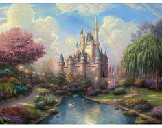 oil paintings, disney dreams, canvas art, magic kingdom, art prints, disney castles, cross stitch patterns, thomas kinkade, cross stitches