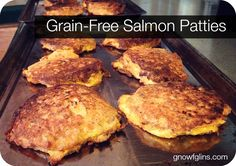 Grain-Free Salmon Patties: 8 eggs 2 to 4 tablespoons coconut flour (or 1 cup bread crumbs or 1/2 cup sprouted brown rice flour or other flour) 1/4 to 1/2 teaspoon sea salt 1/8 teaspoon black pepper 1 to 2 teaspoons dried dill 1/4 to 1/2 red or yellow onion, diced finely (4) 7.5-ounce cans Vital Choice Wild Red Alaskan Sockeye Salmon (water packed), drained butter