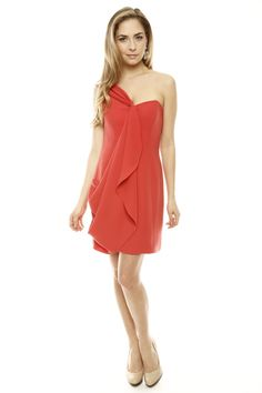 One-shoulder cocktail dress with a drape sash overlay. #glitz #glam #princess #girls #womans #ladies #beauty #fashion #jewelry #party #evening #clothes #peach #salmon #orange summer dresses, overlay, mouth, cocktail dresses, drape dress, oneshould cocktail, summer dress3
