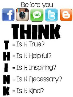 technology rocks. seriously.: Before You FB, Instagram, Text, Tweet or Blog: THINK