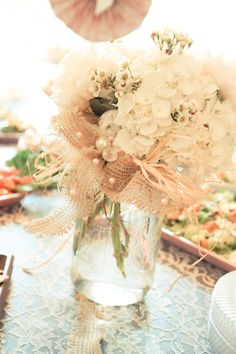 LOVE this flower centerpiece using burlap and pearls - Shabby Chic Rustic Bridal Shower #bridalshower #burlap #pearls #shabbychic #rustic