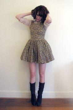 Full skirt, fun print, socks and wedges.