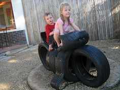 cool tire idea, craft upcycl, recycled tires, recycl tire, diy playground, kid stuff, rubber tire, tire craft