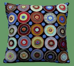 """wool applique pillows 