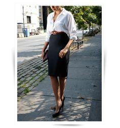 Professionelle: White Button Down +  Evergreen Pencil Skirt