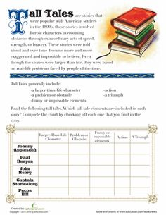 Worksheets: What is a Tall Tale?