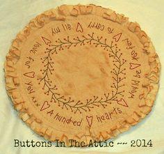 Primitively Stitched 100 Hearts Valentine by ButtonsInTheAttic, $14.95