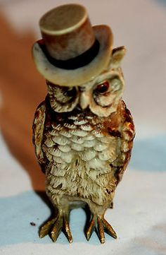 WOW RARE! Antique FIGURAL,CELLULOID,~OWL ,TOP HAT & TAILS  Tape Measure~novelty