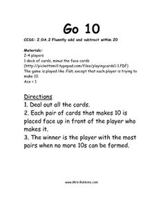 2.OA.2 Go Ten Math Station / Center GameThe directions are included. CCSS: 2.OA.2 Fluently add and subtract within 20Students use cards to ma...