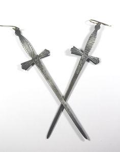 2 of swords. Tarot earrings. by BloodMilk on Etsy, $200.00