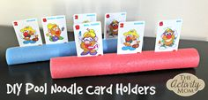 DIY Card Holders for kids using a Pool Noodle