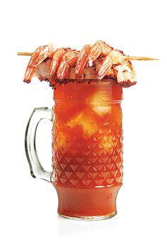 Michelada con Camarones (Spicy Beer Cocktail with Shrimp)
