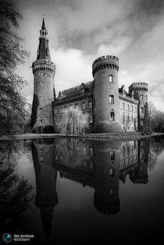 Schloss Moyland, neo-gothic buildings in North Rhine-Westphalia, Germany