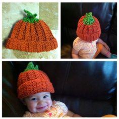 Pumpkin crochet hat #fall #Halloween #thanksgiving