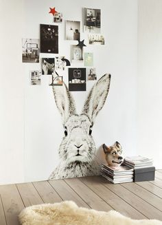 Love the bunny, but that wolf head is creepy!