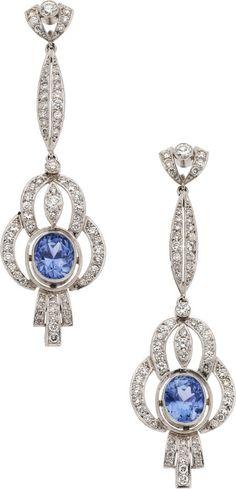 Sapphire, Diamond, Platinum Earrings