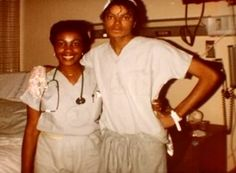 <3 Michael Jackson <3 after the Pepsi accident.  A nurse there wrote an article for a paper and said that he was so nice and posed for pictures and signed for autographs whenever asked, and he would also visit other burn victims to make their day brighter.   Circa - 1984.