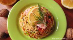 Kaszomania - pomysły na dania z kaszy jaglanej: Sałatka z kaszy jaglanej i łososia
