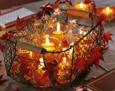 fall leaves, autumn leaves, jar candles, fall decorations, thanksgiving centerpieces, wire baskets, mason jars, table centerpieces, light