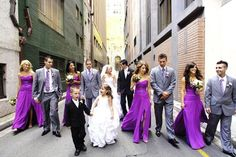 wedding party with grey tux