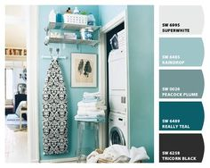 paint colors for laundry room, room colors, blue paint color, laundry closet, laundry rooms, bright paint colors, room paint colors, laundri room, blue laundry room ideas