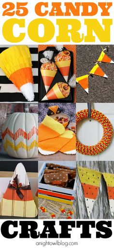 25 Candy Corn Crafts - Pumpkins, Pinatas and MORE at anightowlblog.com | #candycorn #crafts #candy #corn #halloween #25 #ideas #list #kids #projects #fall #autumn #yellow #orange #white #banner #bunting #pennant #gift #favor #goodie #bags #mason #jar #pumpkin #chevron #pinata #topiary #candle #holder #diy #craft #trickortreat #trick #treat #owl #tote #wreath
